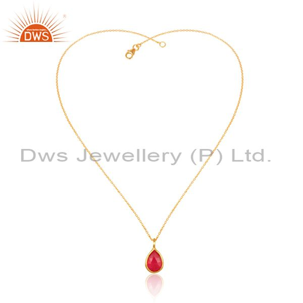 Red Quartz Set Gold On Silver Statement Pendant And Necklace