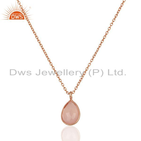 "Dyed Rose Chalcedony Sterling Silver Pendant With 17"" Chain - Rose Gold Plated"