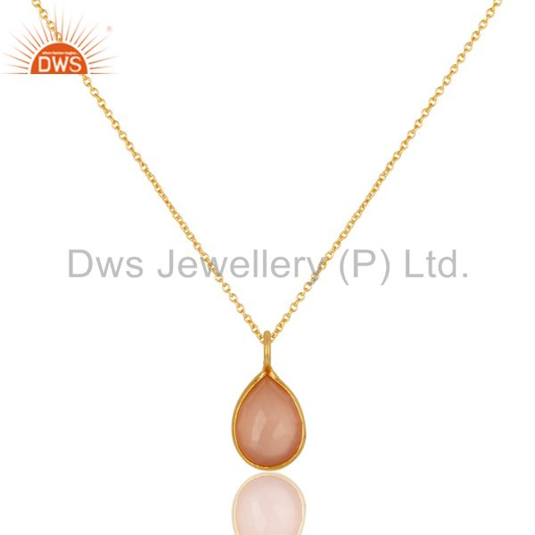 18K Yellow Gold Plated Sterling Silver Rose Chalcedony Stone Pendant With Chain