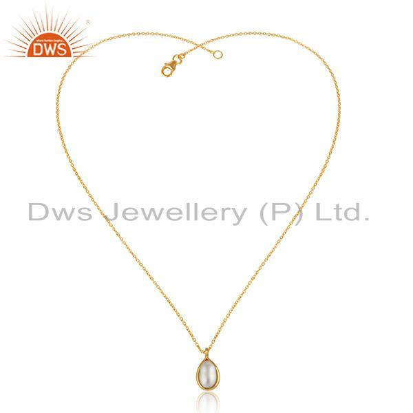 Natural Pearl Gemstone Designer Silver Gold Plated Chain Pendant
