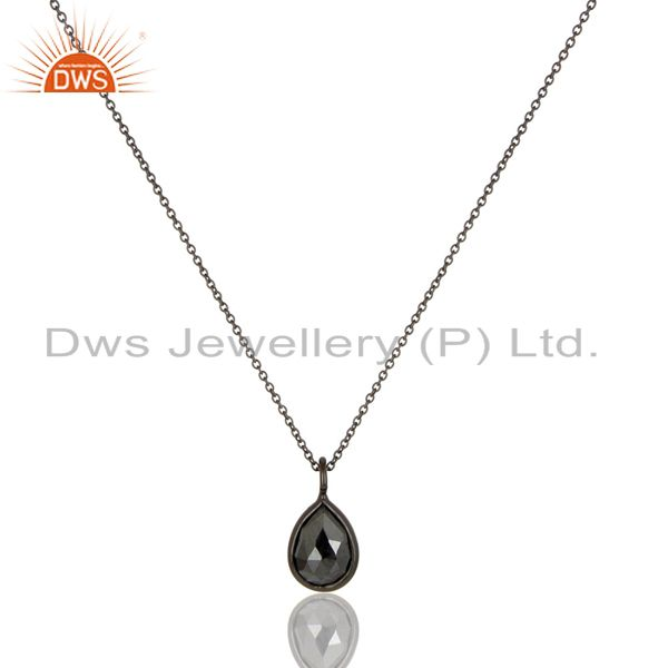 Oxidized Solid Sterling Silver Golden Pyrite Bezel Set Drop Pendant With Chain