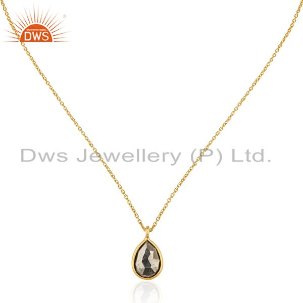 22K Yellow Gold Plated Sterling Silver Pyrite Gemstone Drop Pendant With Chain