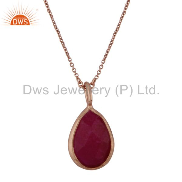18K Yellow Gold Plated Sterling Silver Dyed Ruby Drop Pendant With Chain