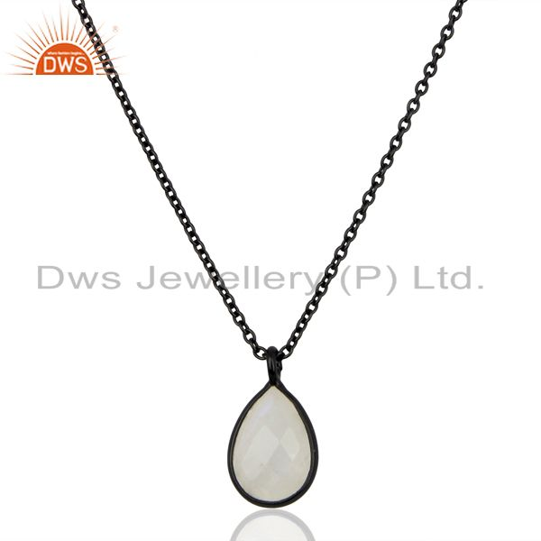Rainbow Moonstone Black Oxidized Sterling Silver Chain Pendant Necklace Jewelry