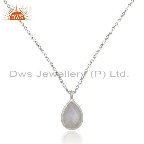 Rainbow moonstone 925 sterling fine silver chain pendant manufacturer india