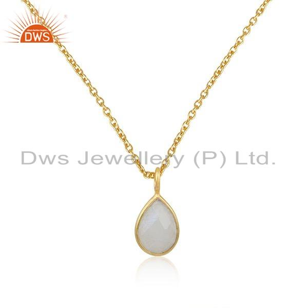 Rainbow moonstone gemstone gold plated 925 silver pendant jewelry
