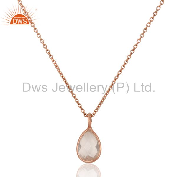 18K Rose Gold Plated Sterling Silver Bezel Set Crystal Quartz Pendant With Chain