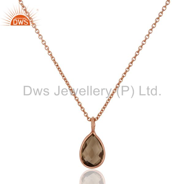 18K Rose Gold Plated Sterling Silver Bezel Set Smoky Quartz Pendant With Chain