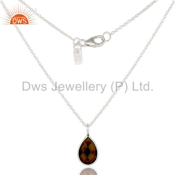 925 sterling silver smoky quartz gemstone bezel set drop pendant with chain