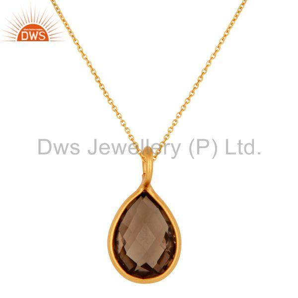 18K Yellow Gold Plated Sterling Silver Smoky Quartz Gemstone Drop Pendant