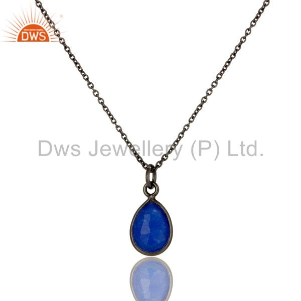 Oxidized Sterling Silver Faceted Blue Aventurine Bezel Set Drop Pendant Necklace