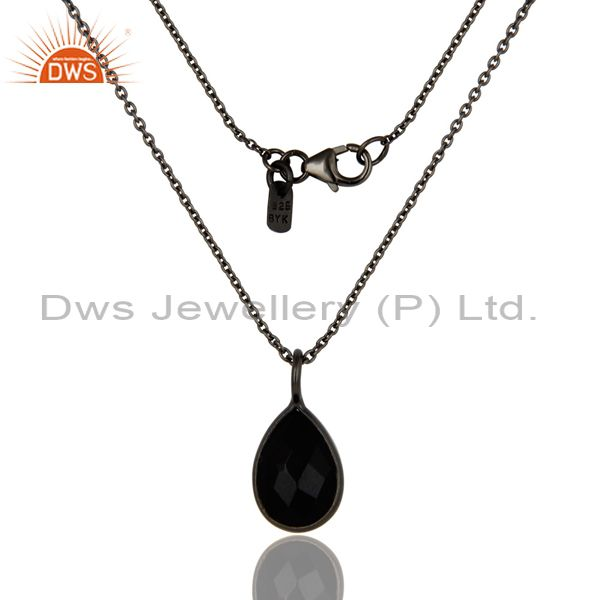 Black oxidized 925 sterling silver black onyx drop pendant with 18