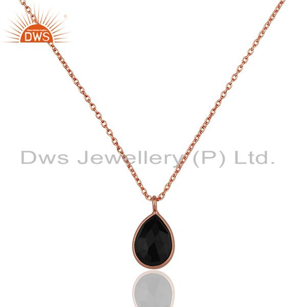 Black Onyx Gemstone 925 Silver Rose Gold Plated Chain Pendant