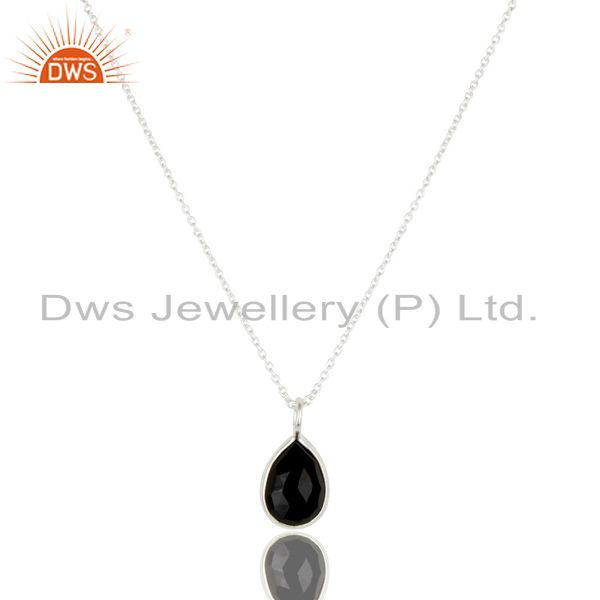 Handmade solid 925 sterling silver black onyx bezel set chain pendant necklace