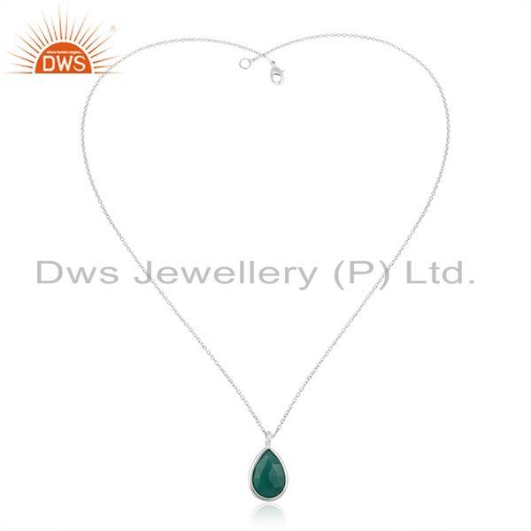 925 sterling silver green onyx gemstone bezel set pendant with chain