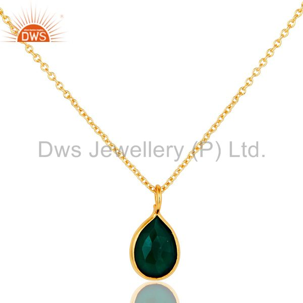 18k Gold Plated Sterling Silver Green Onyx Bezel Set Chain Pendant Necklace