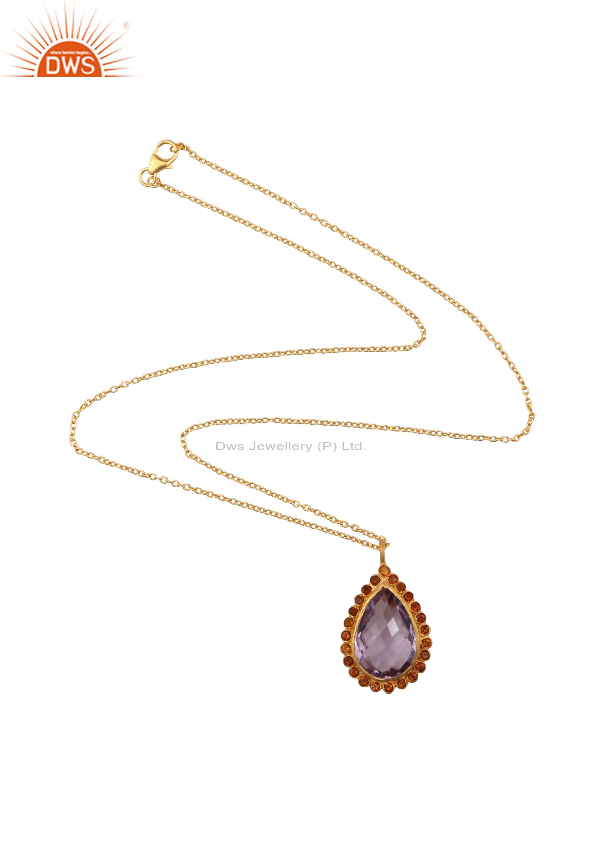 18K Yellow Gold Plated Sterling Silver Amethyst And Citrine Drop Pendant Chain