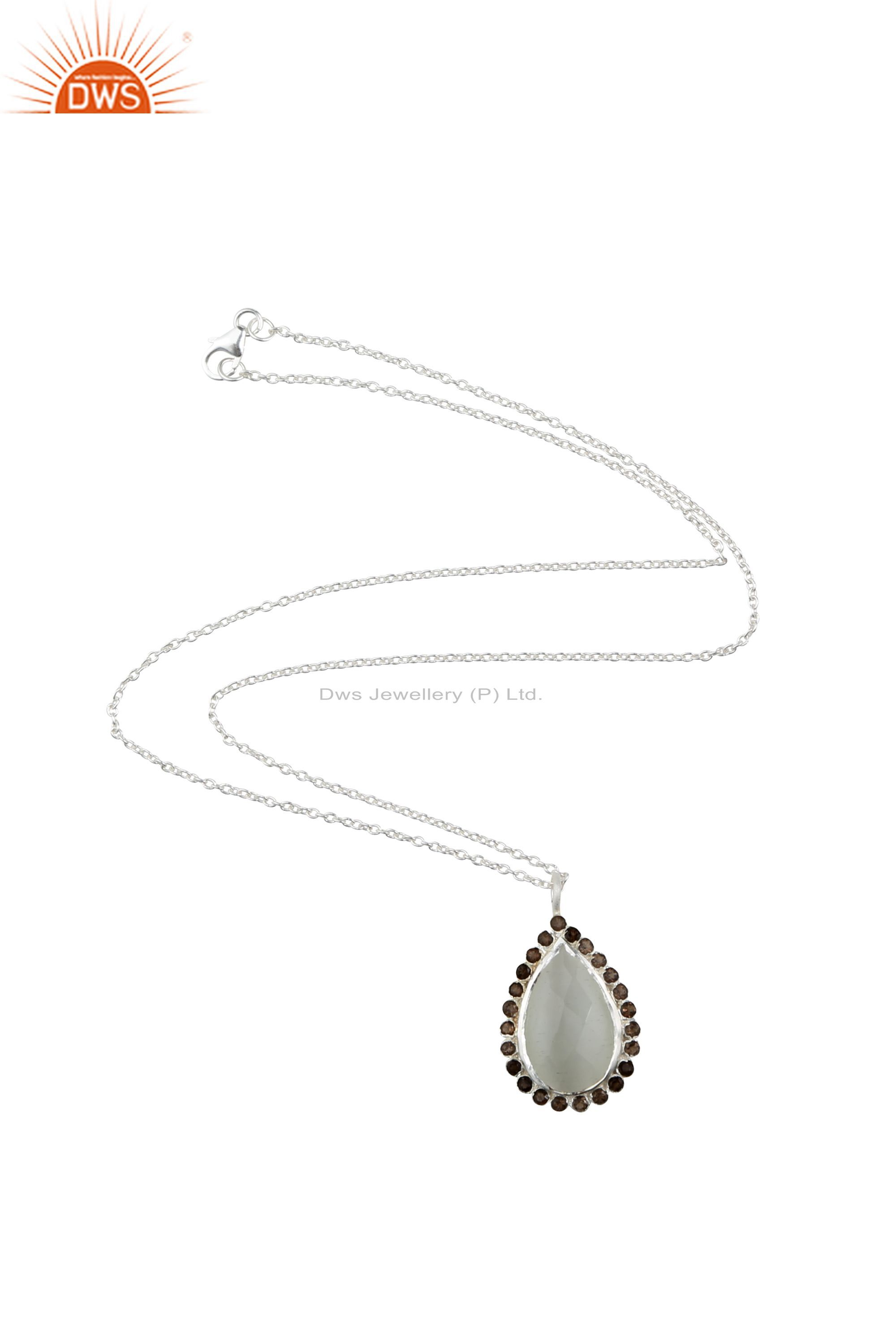 925 Sterling Silver White Moonstone And Smoky Quartz Drop Pendant With Chain