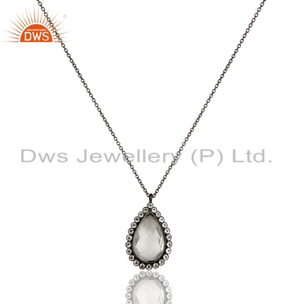 Black oxidized 925 sterling silver crystal quartz & white topaz chain pendant