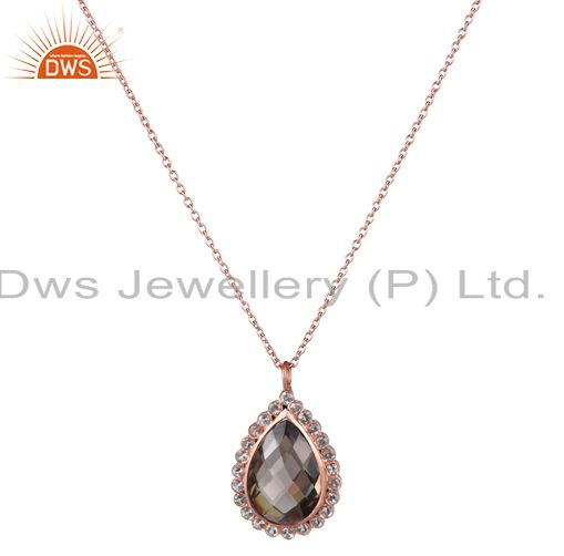 18k rose gold plated silver smoky quartz and white topaz drop pendant with chain