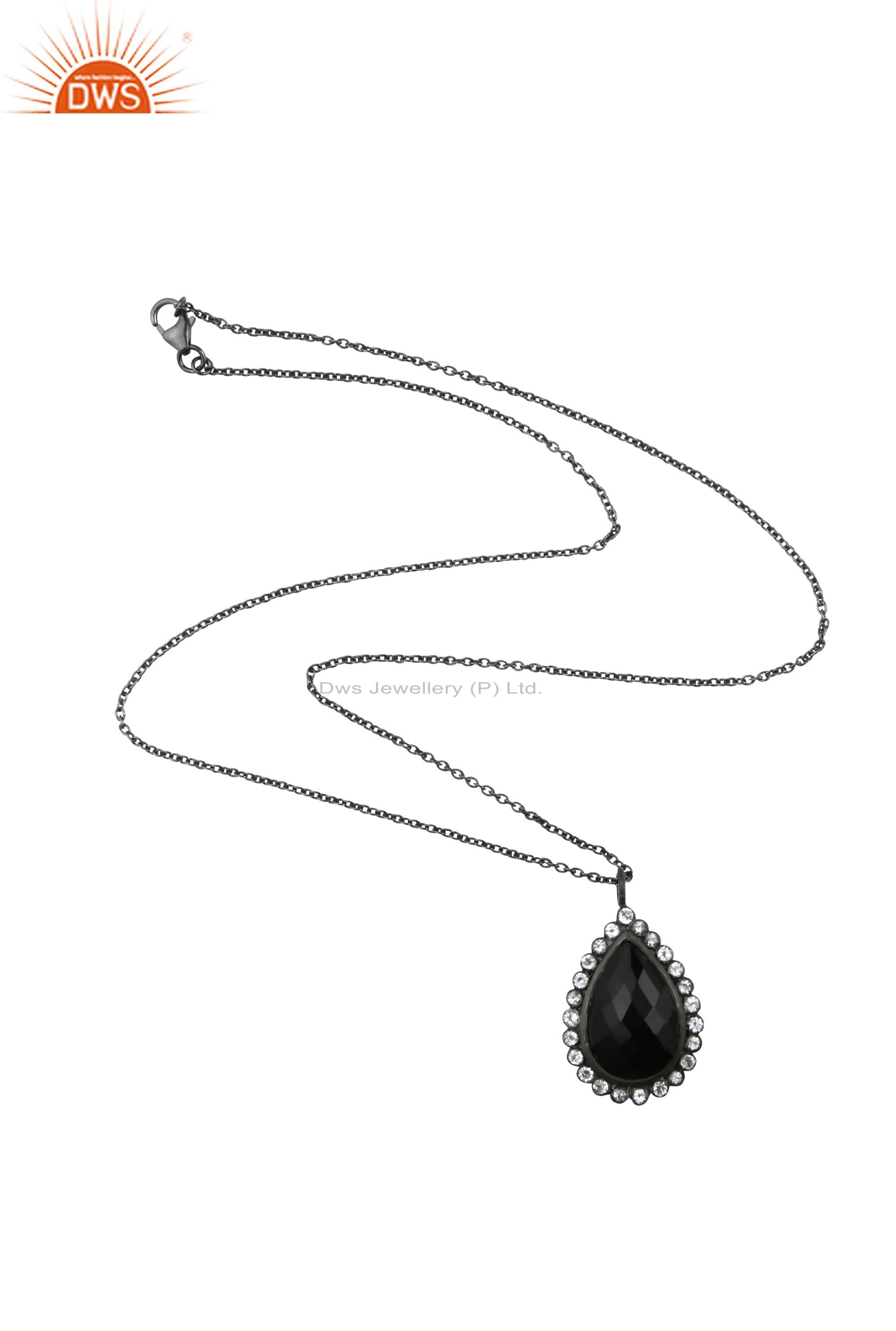Oxidized Sterling Silver Black Onyx And Cubic Zirconia Drop Pendant With Chain
