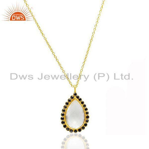 22K Gold Plated Sterling Silver Crystal Quartz And Black CZ Pendant With Chain