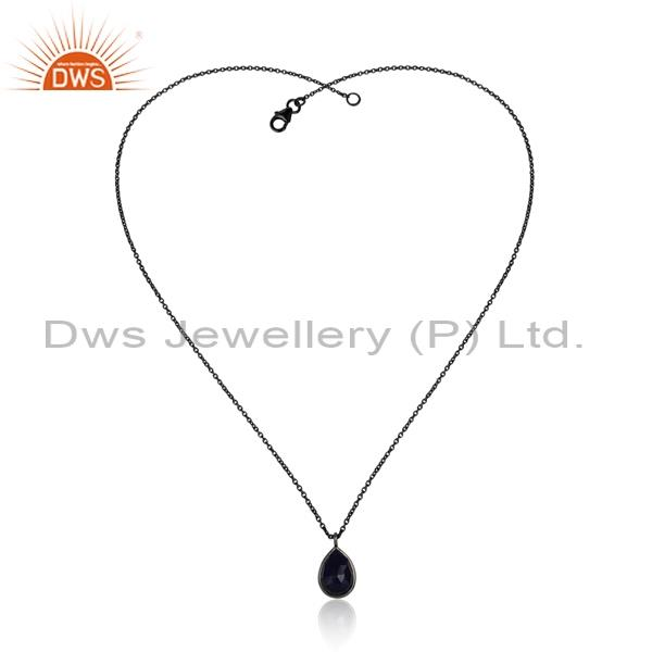 Blue Corundum Pendant With 925 Silver Necklace