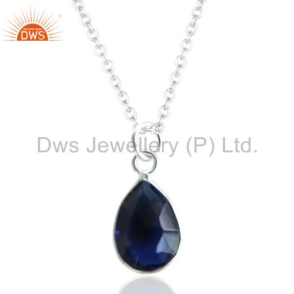 Blue Corundum Drop Shape Bezel Pendent Chain Pendent JEwelry