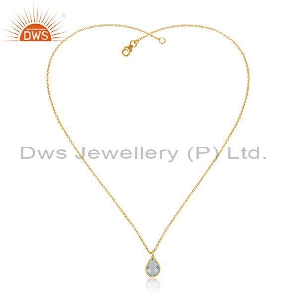Handmade Dainty Gold on Silver Necklace with Blue Topaz
