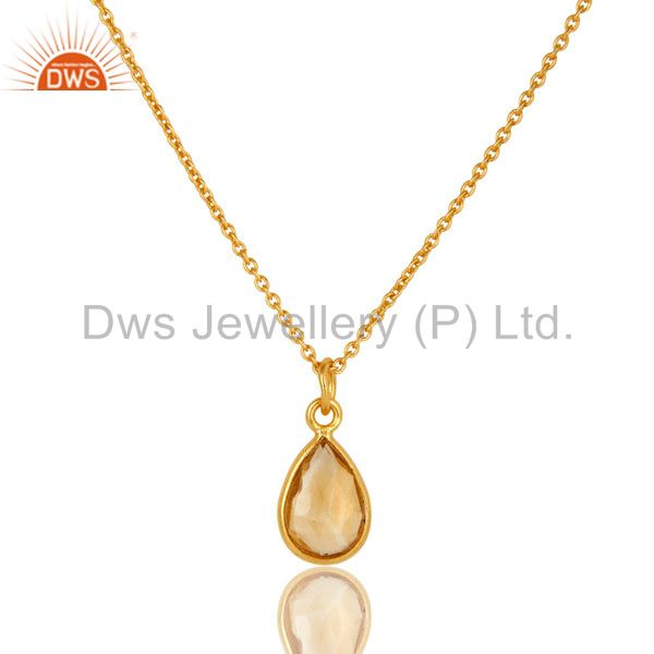 18K Yellow Gold Plated Sterling Silver Citrine Bezel Set Drop Pendant With Chain