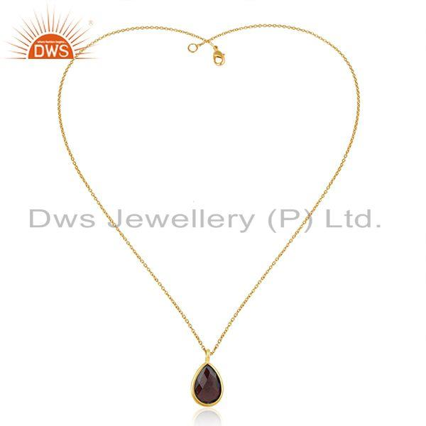 Natural Garnet Gemstone Handmade 925 Silver Gold Plated Chain Pendant