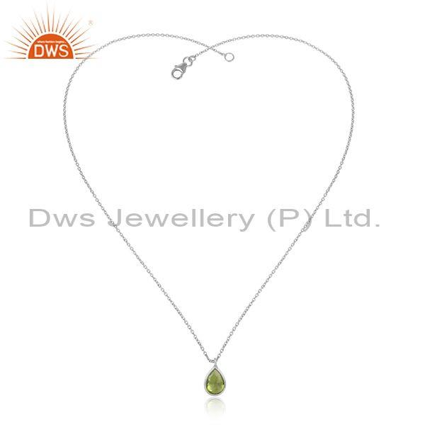 Peridot Gemstone Handmade Sterling Silver Chain Necklace