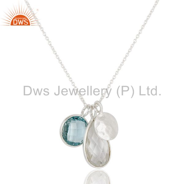 Solid 925 sterling silver blue topaz & crystal quartz bezel set chain pendant
