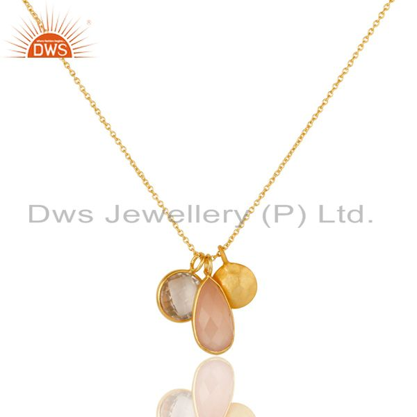 18K Yellow Gold Plated Silver Crystal Quartz & Rose Chalcedony Pendant Necklace