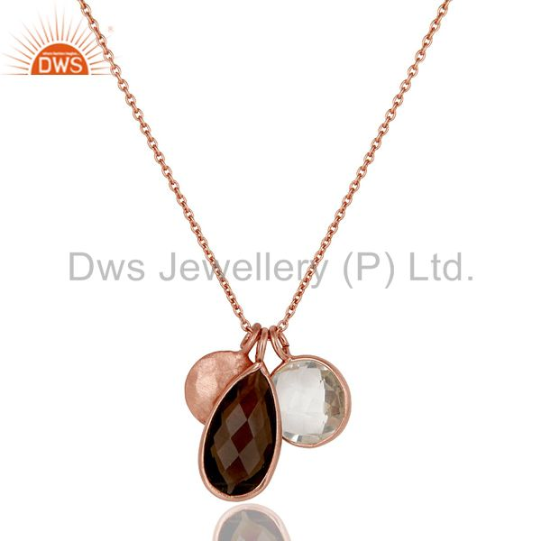18K Rose Gold Plated Sterling Silver Crystal Quartz And Smoky Pendant With Chain