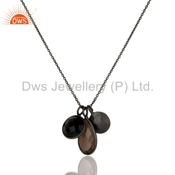 Oxidized Sterling Silver Smoky Quartz And Black Onyx Gemstone Chain Necklace