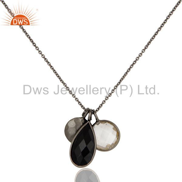 Oxidized Sterling Silver Crystal Quartz And Black Onyx Drop Pendant With Chain