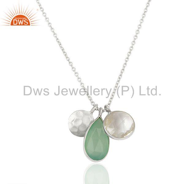 Multi Gemstone Solid 925 Silver Chain Charm Pendant Manufacturer