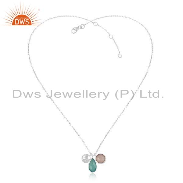 Aqua & Rose Chalcedony Gemstone Sterling Silver Chain Pendant Jewelry