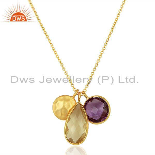 14K Gold Plated 925 Sterling Silver Lemon Topaz & Amethyst Chain Drops Pendant