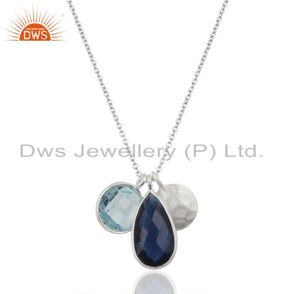 Blue Corundum Blue Topaz Multi Stone 925 Sterling Silver Chain Pendant Jewelry