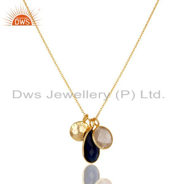 14K Gold Plated Sterling Silver Blue Corrundum & Crystal Quartz Chain Pendant
