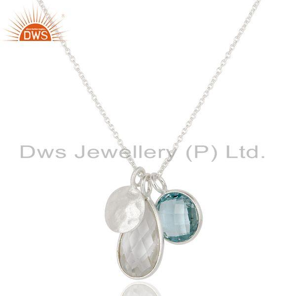 Handcrafted multi charm silver necklace with blue topaz and crystal