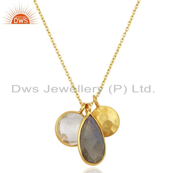 Labradorite crystal quartz 18k gold plated sterling silver chain pendant jewelry