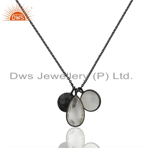 Oxidized sterling silver crystal quartz and moonstone pendant charms necklace