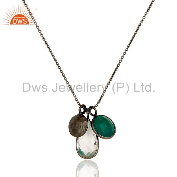 Green Onyx And Crystal Quartz Bezel Set Pendant In Black Rhodium Plated Silver