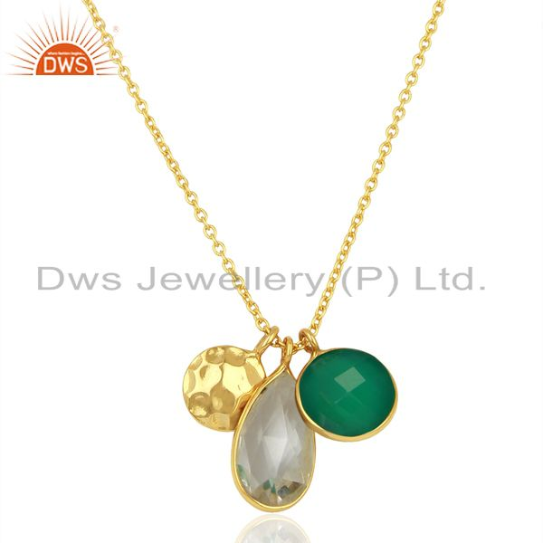 Crystal quartz & green onyx gemstone silver designer pendant jewelry