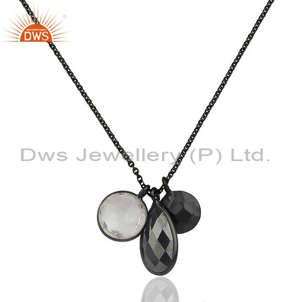 Multi Gemstone Black Rhodium Plated 925 Silver Chain Pendant Wholesale