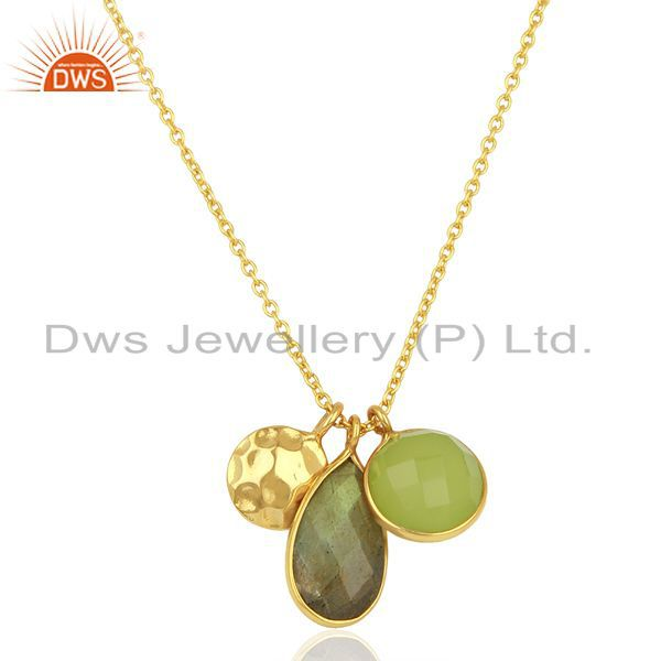 18K Gold Plated Sterling Silver Labradorite & Green Chalcedony Pendant With Chai