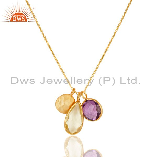 18K Yellow Gold Plated Sterling Silver Lemon Topaz And Amethyst Chain Necklace